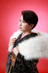 成人式振袖の撮影 羽毛ショール
