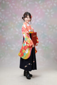 卒業式の袴姿。