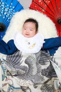 初宮参り 男児 鷹の着物